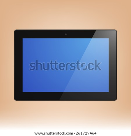 Black Tablet Computer with blue display.