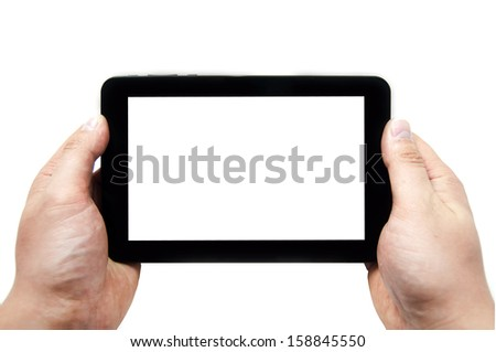 Black tablet in hands on a white background