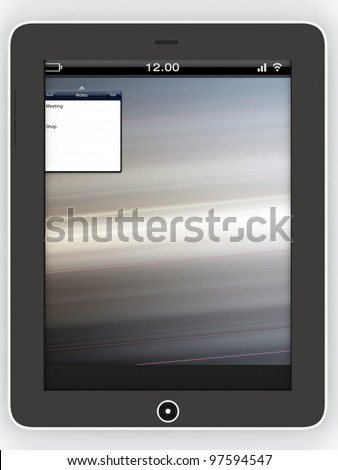 Black tablet isolated on white background, 3d render.