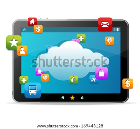 Black tablet like Ipade on white background and icons - stock photo