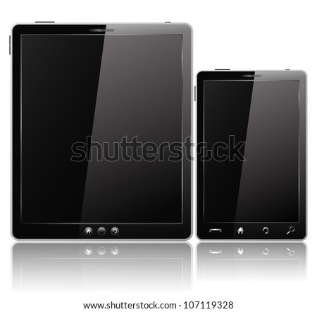 Black Tablet PC and Mobile Phone - stock photo