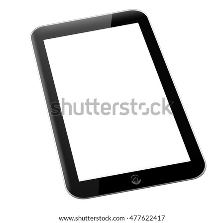 Black tablet pc computer with blank screen isolated on white background