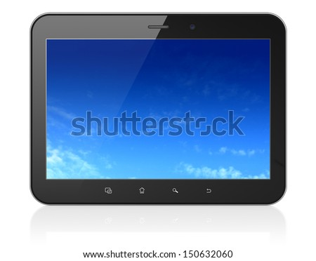 Black tablet pc computer with Pixelated Sky on display. Modern portable touch pad on White background, 3d render