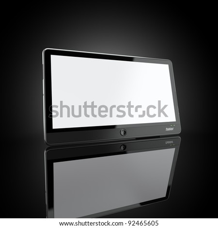 Black tablet pc on black background. 3d - stock photo