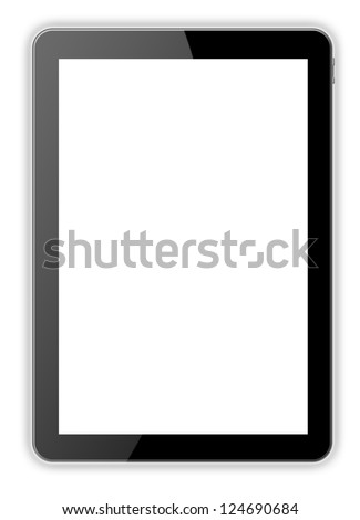 Black tablet pc on the white backgrounds - stock photo
