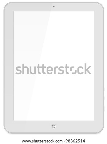 Black tablet pc on white background, 3d render. - stock photo
