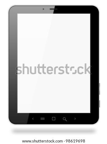 Black tablet pc similar to ipade on white background. - stock photo