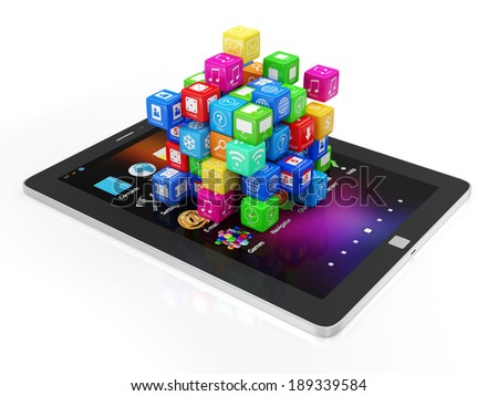Black Tablet PC with Application Cubes isolated on white background