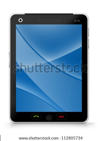 Black Tablet PC With Blank Blue Curve Line in The Screen Isolated on White Background