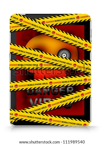Black Tablet PC With Skull Virus Alert on Screen Cover By Danger Mobile Phone Virus Caution Tape For Mobile Phone Virus Concept Isolated on White Background - stock photo