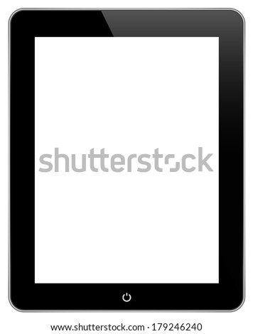 Black Tablet With Blank Screen Similar To iPad Isolated On White Background - stock photo