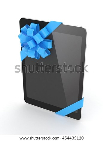 Black tablet with blue bow. 3D rendering.