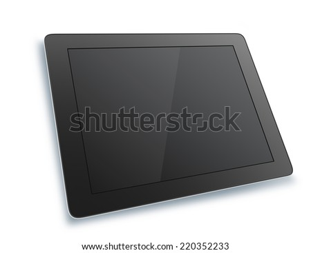Black tablet with isolated on white background.