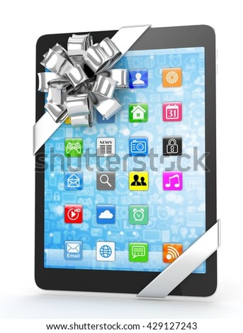 Black tablet with silver bow and icons. 3D rendering.