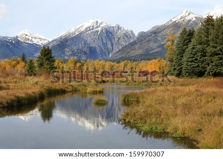 Black tail Pond Reflecting the Tetons and the Fall Colors, Grand Tetons National Park, Wyoming