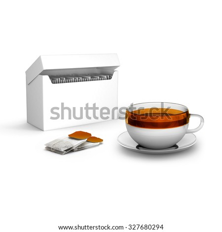 Black tea bags with cup with and tea box on white