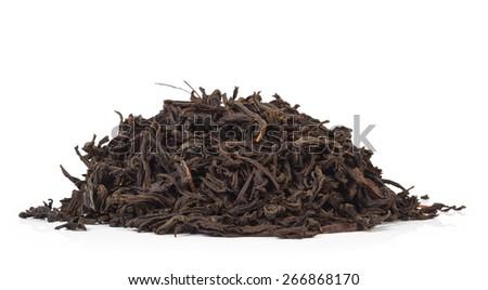 black tea isolated on white background - stock photo