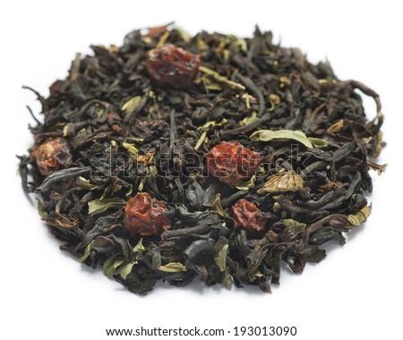 black tea with fruit on a white background  - stock photo