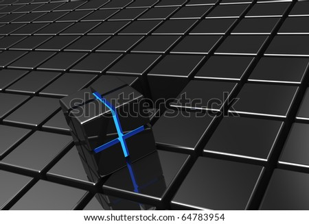 Black technology background with blue glow