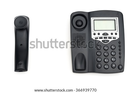 black telephone and receiver on white with copy space