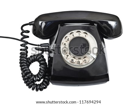 black telephone from 70s isolated on white background