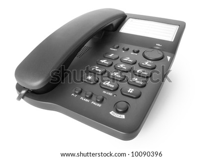 black telephone office isolated on white