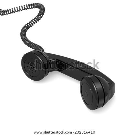 Black telephone receiver - stock photo