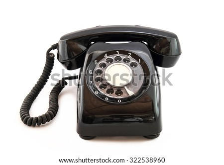 Black Telephone Vintage with a white background   - stock photo