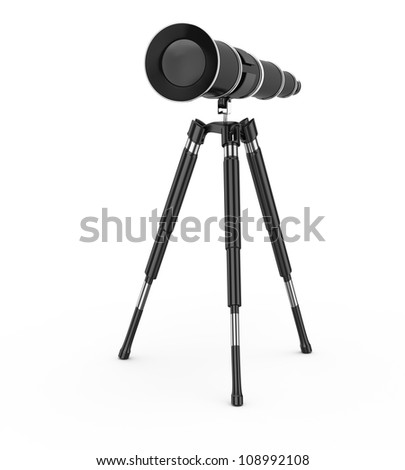 black telescope isolated on white background. 3d render