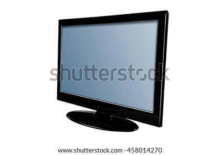 Black television turned to the left isolated on white background.