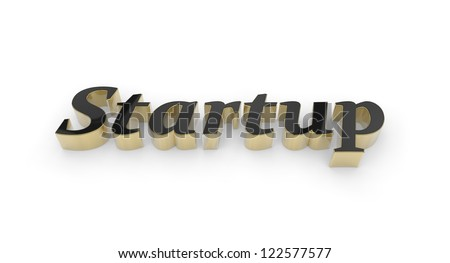 Black text Start up, raised, with gold edges