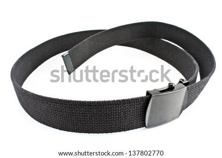 Black textile belt isolated on white - stock photo