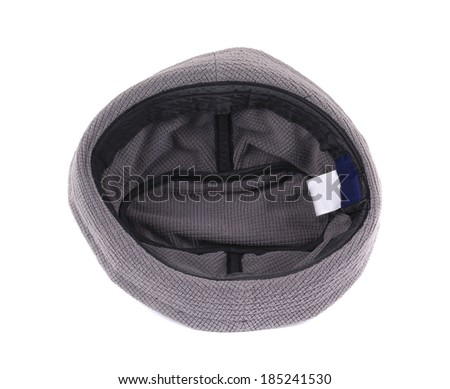 Black textile hat. Isolated on a white background.