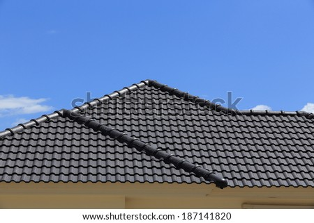 black tiles roof on a new house with blue sky - stock photo