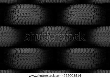 Black tire rubber, vehicle part, spare part. - stock photo