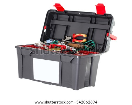 Black toolbox with tools. Isolated on a white background. - stock photo