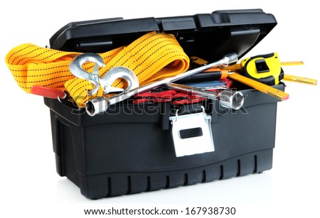 Black toolbox with tools isolated on white - stock photo