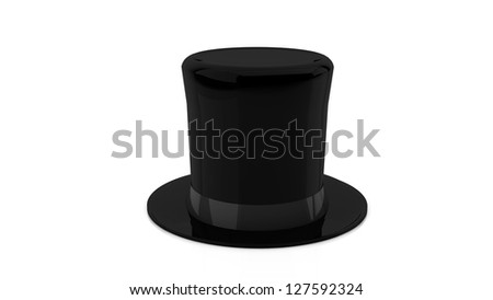 Black top hat in 3d on white background - stock photo