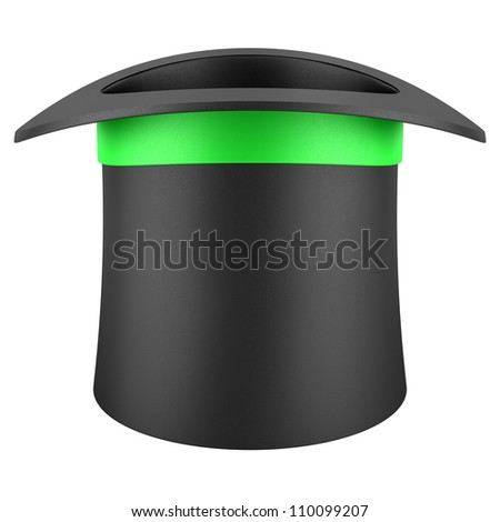 black top hat with green strip isolated on white background