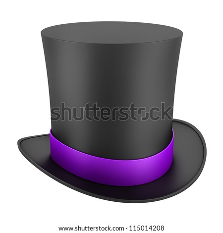 black top hat with purple strip isolated on white background - stock photo