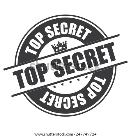 Black Top Secret Sticker, Icon or Label Isolated on White Background  - stock photo