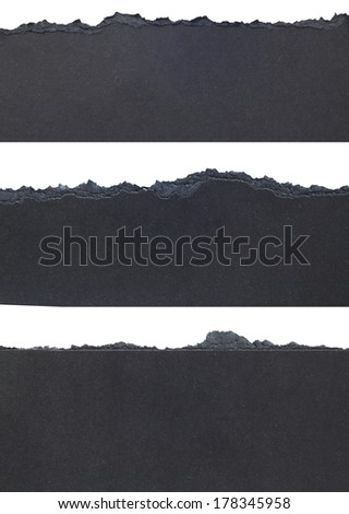 Black Torn Paper Borders isolated on white background - stock photo