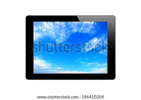 Black Touch Screen Tablet and blue sky isolated on white background - stock photo