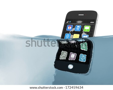 Black touchscreen smartphone in water isolated on white background - stock photo