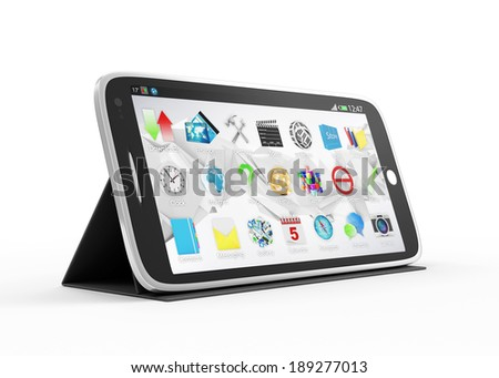 Black Touchscreen Smartphone on Stand isolated on white background