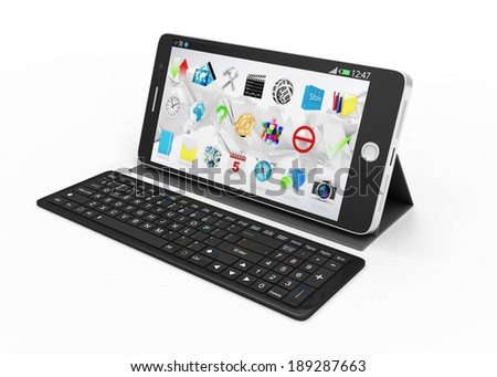 Black Touchscreen Smartphone on Stand with Keyboard isolated on white background