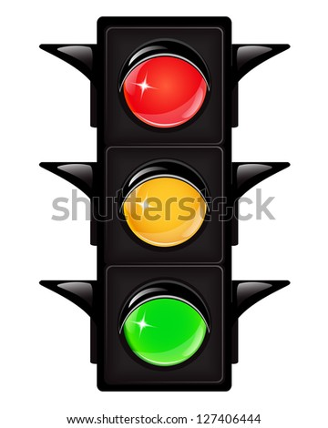Black traffic light with reflections on a white background - stock photo