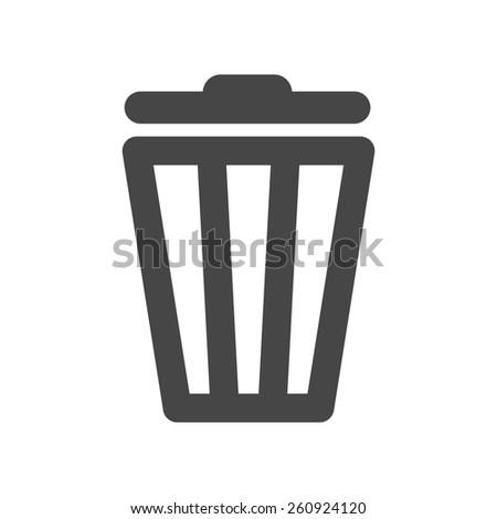 black trash bin icon on a white background - stock photo