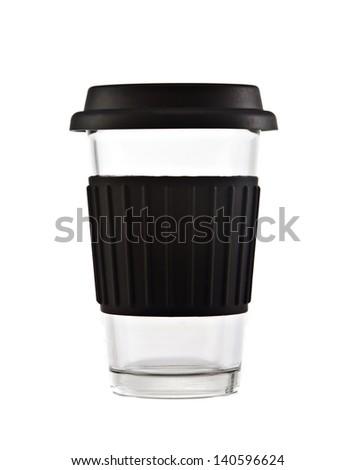 Black travel mug isolated on white background - stock photo