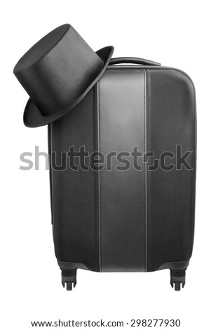 Black travel suitcase with top-hat isolated on white background. Travel concept - stock photo